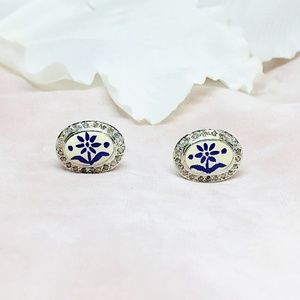Diamond Sterling Silver Enamelled Cufflink